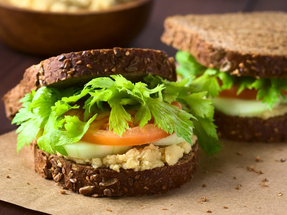 Spread your sandwich with half a cup hummus to increase your dietary fibre