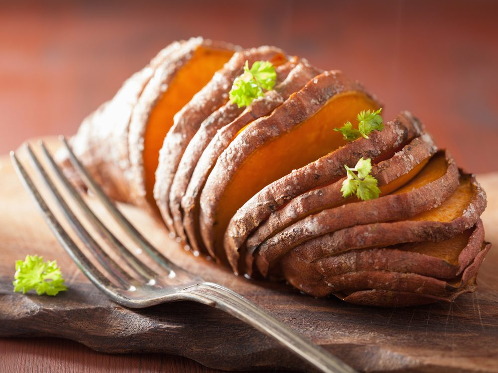 Eat the skin of your baked and sweet potatoes to increase your dietary fibre