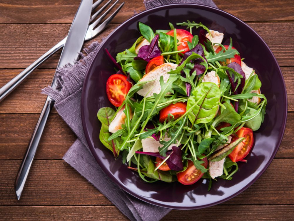 Start every dinner with a mixed green salad to increase your dietary fibre