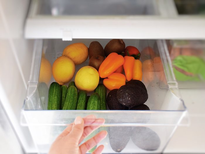 dirty kitchen items - refrigerator crisper drawer