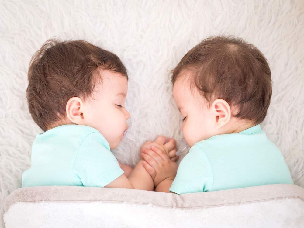 Twin baby boys sleeping