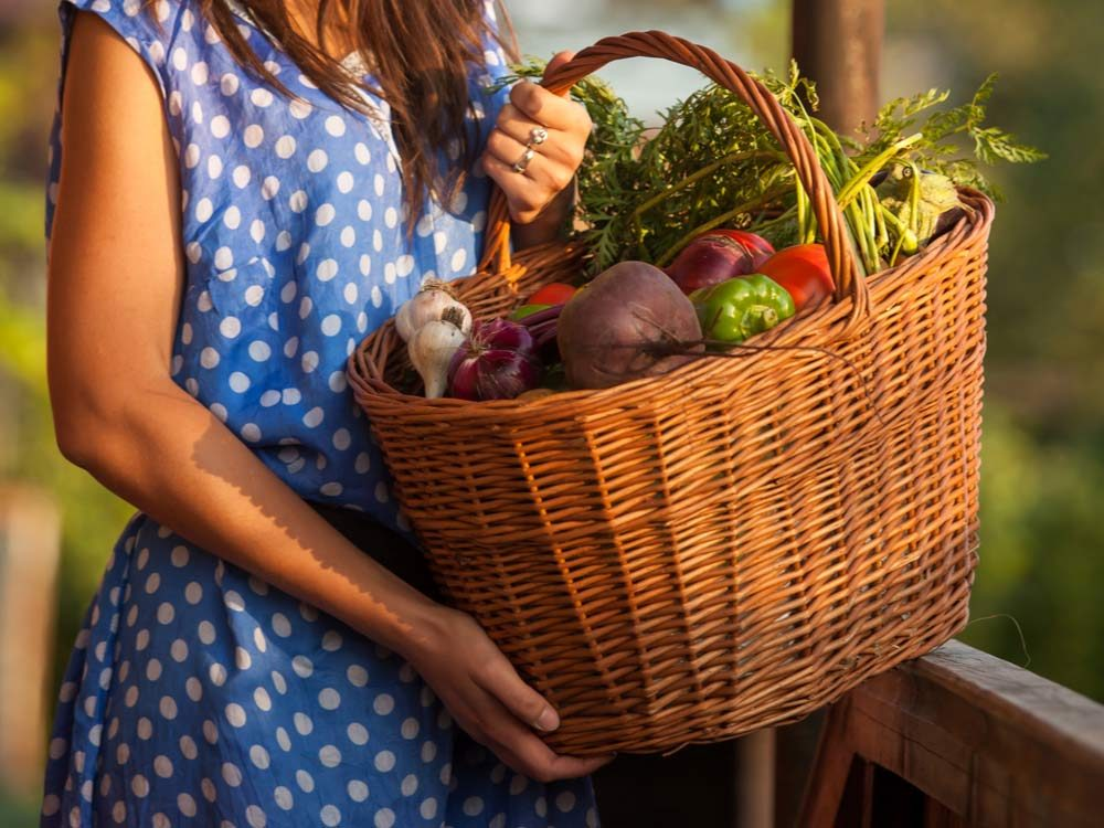 Wicker basket full of vegetables