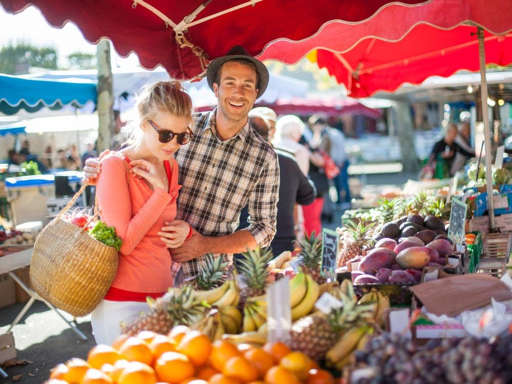 Couple at farmers' market