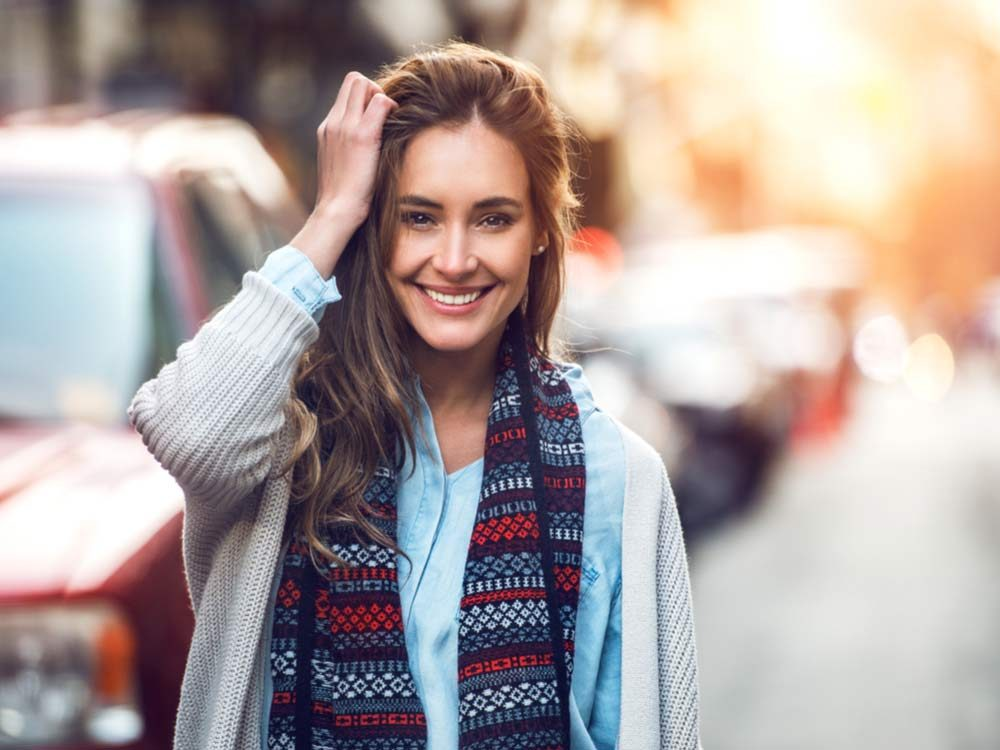 Woman with printed scarf