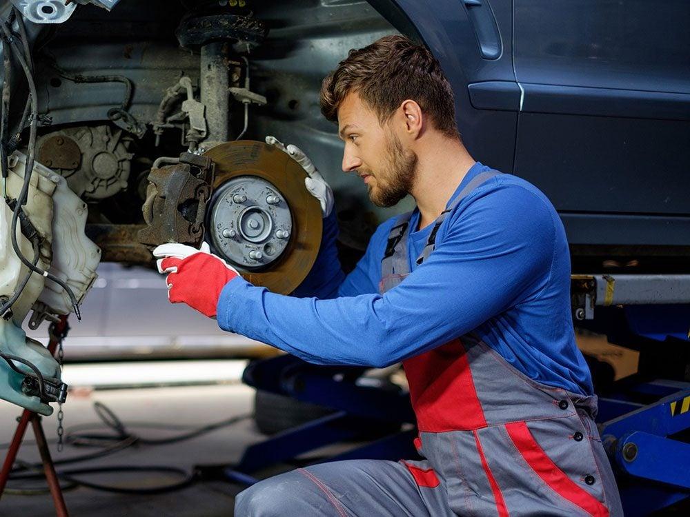 Mechanic doing a brake job