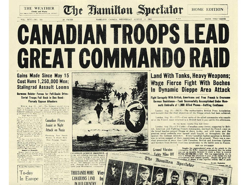Front page of the Hamilton Spectator after the Dieppe Raid