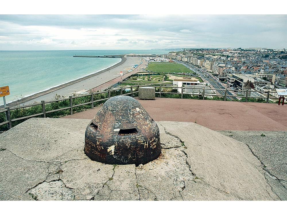 View from machine gun looking down on the Dieppe Beach