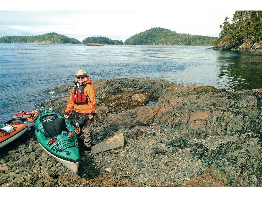 Helen at an oceanside lunch site
