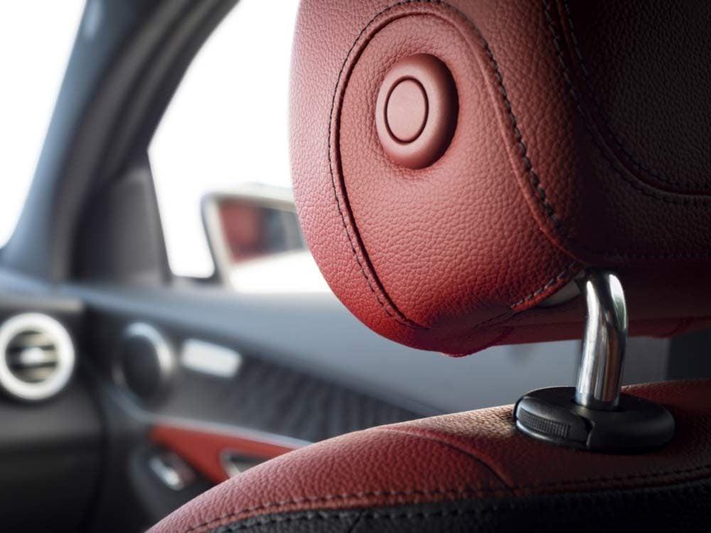 Close-up of headrest