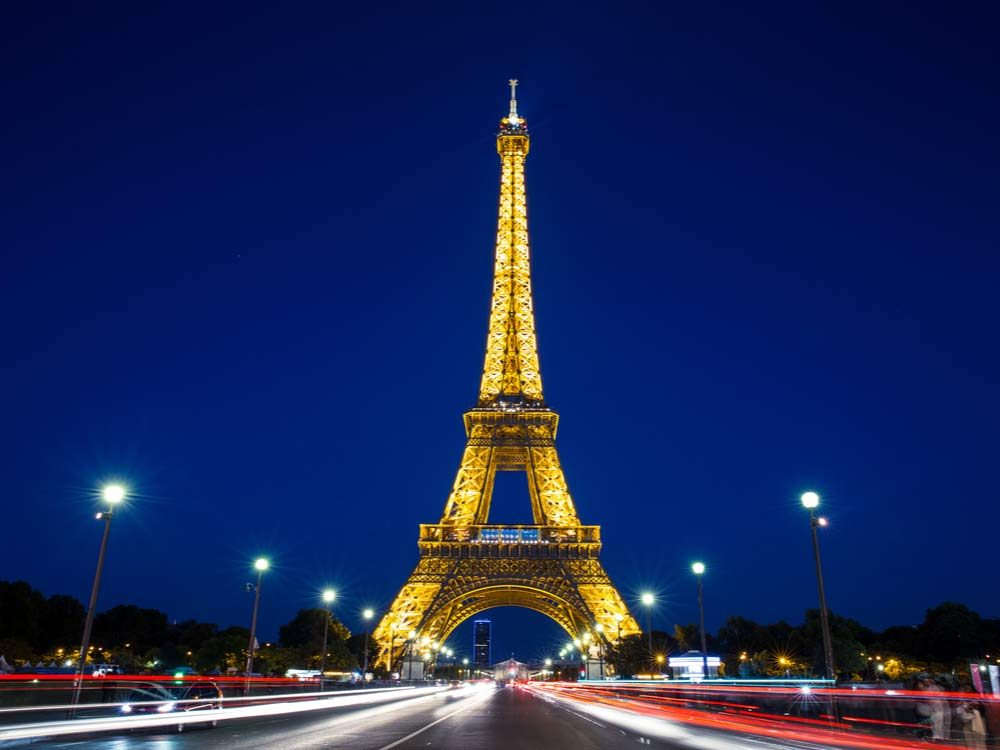 Eiffel Tower lit at night