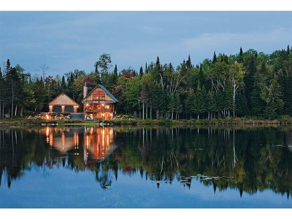Peaceful cabin at dusk