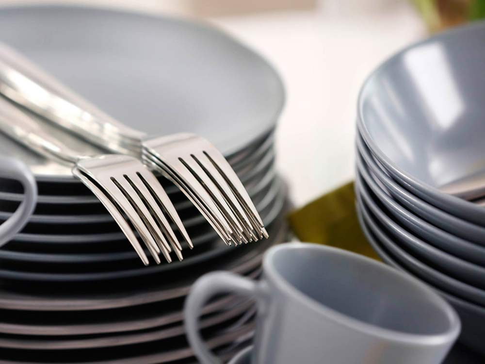 Plates, cups and forks