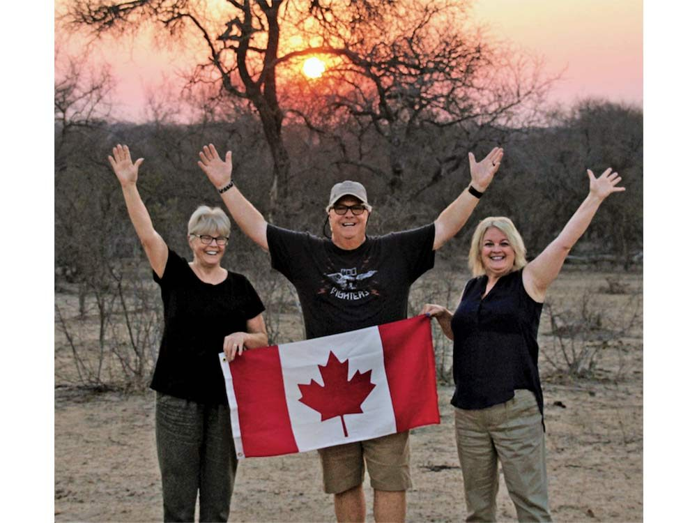 Geoff, his wife and mother-in-law in South Africa