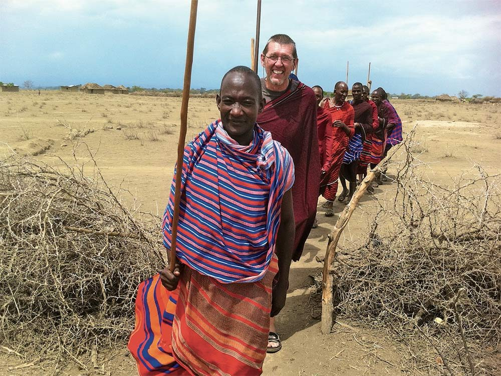 Johannes with African tribe