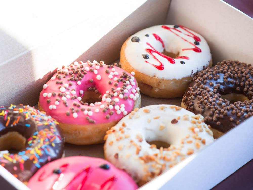 Assorted donuts in box