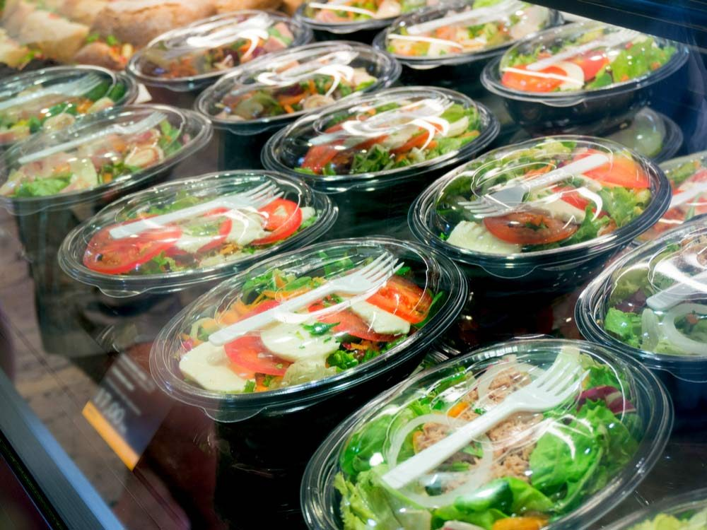 Packed salads in grocery store