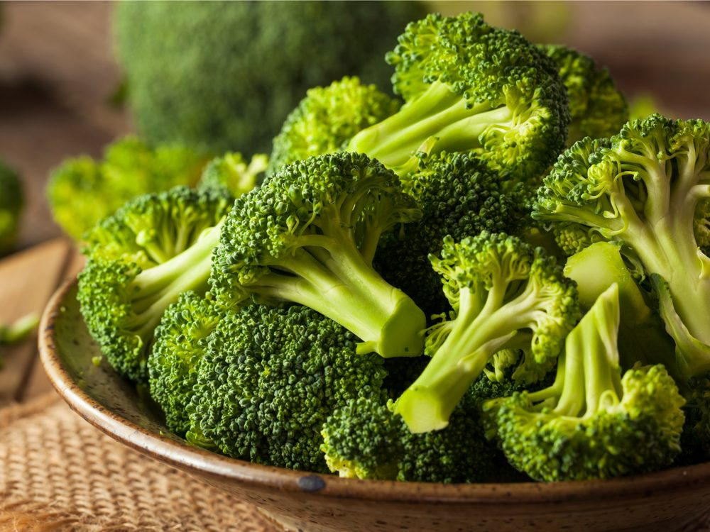 Broccoli in wooden bowl