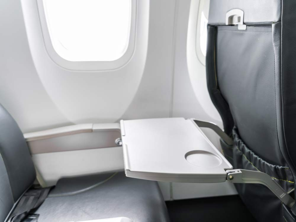 Table tray on airplane