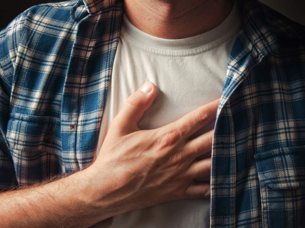 Man experiencing heart pain