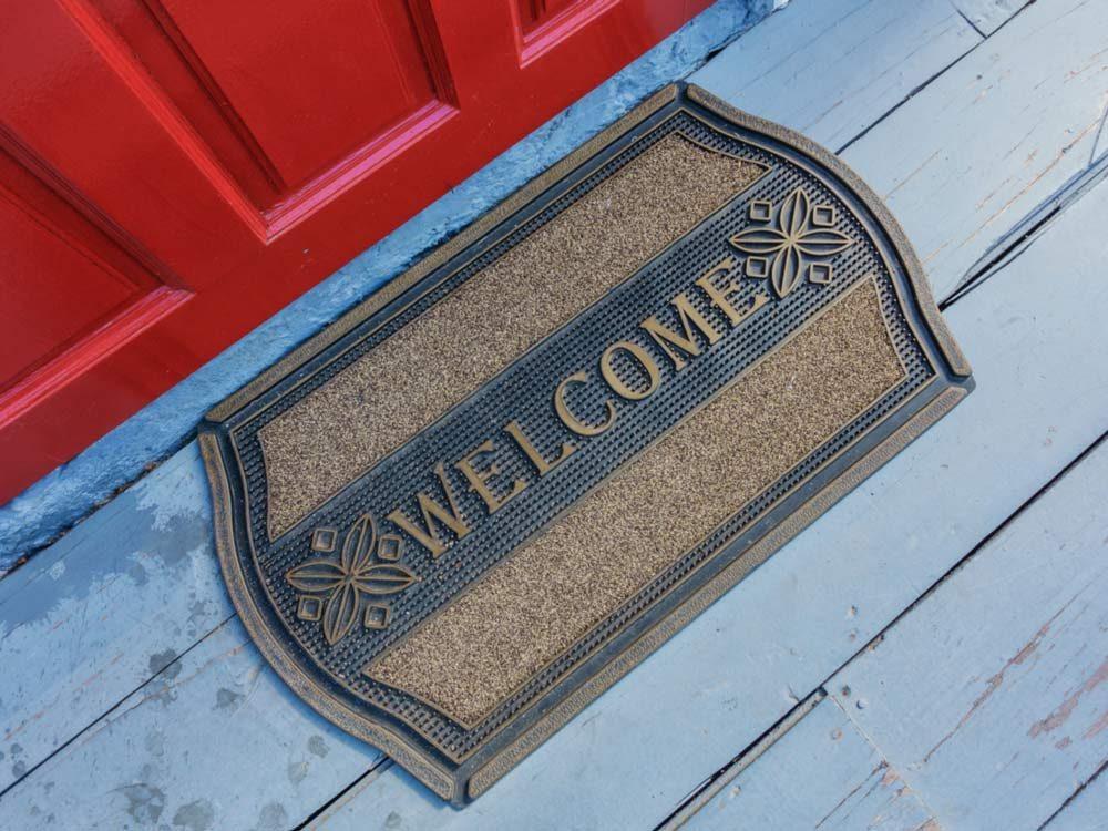 Welcome mat on front door