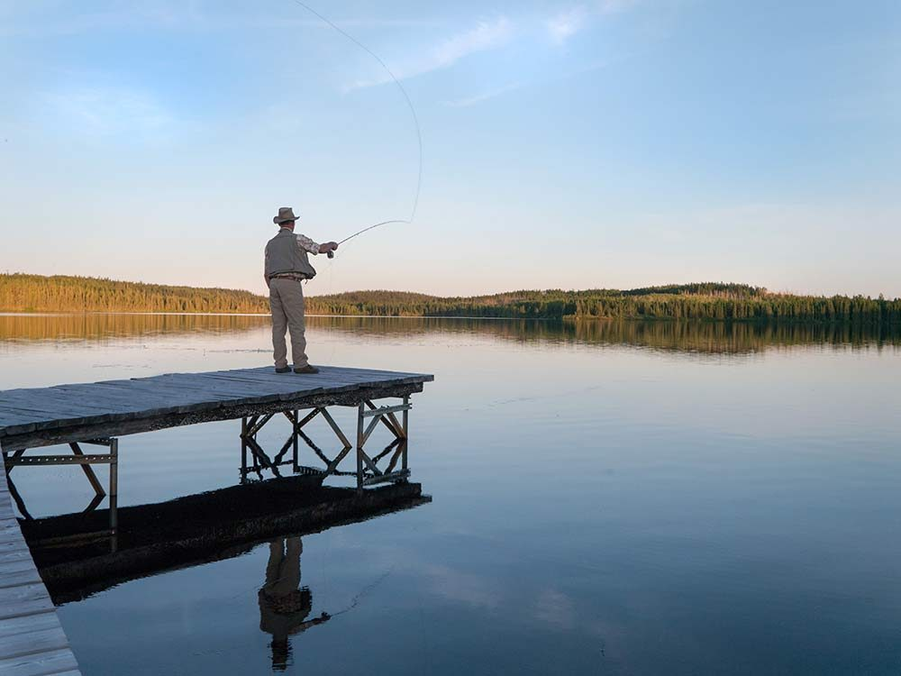 Fishing at dusk in Quebec