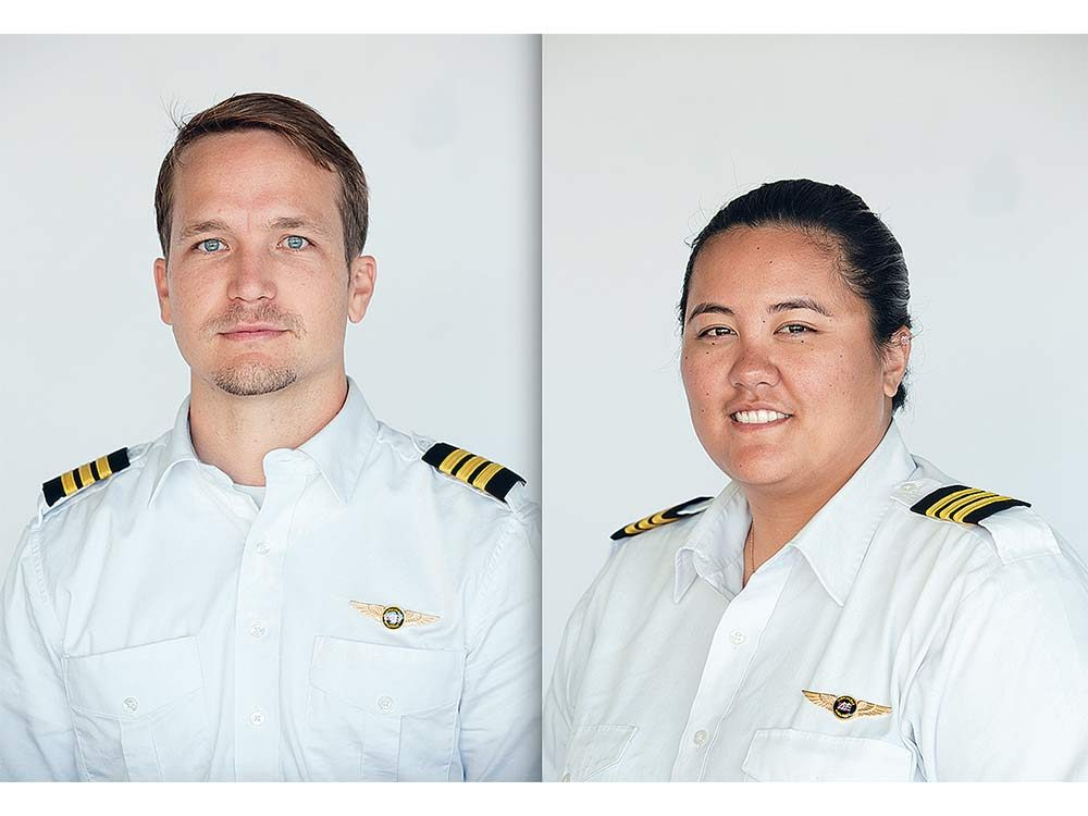 Sydnie Uemoto and her co-pilot Dave McMahon