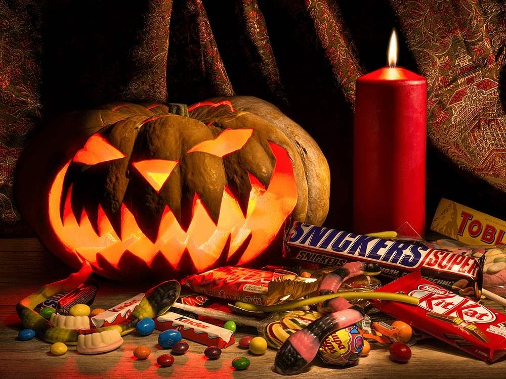 Halloween candy and chocolate bars