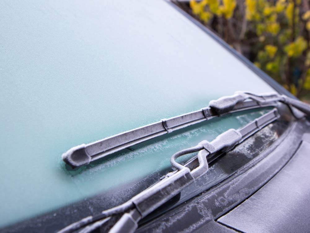 Frost on windshield wiper blades
