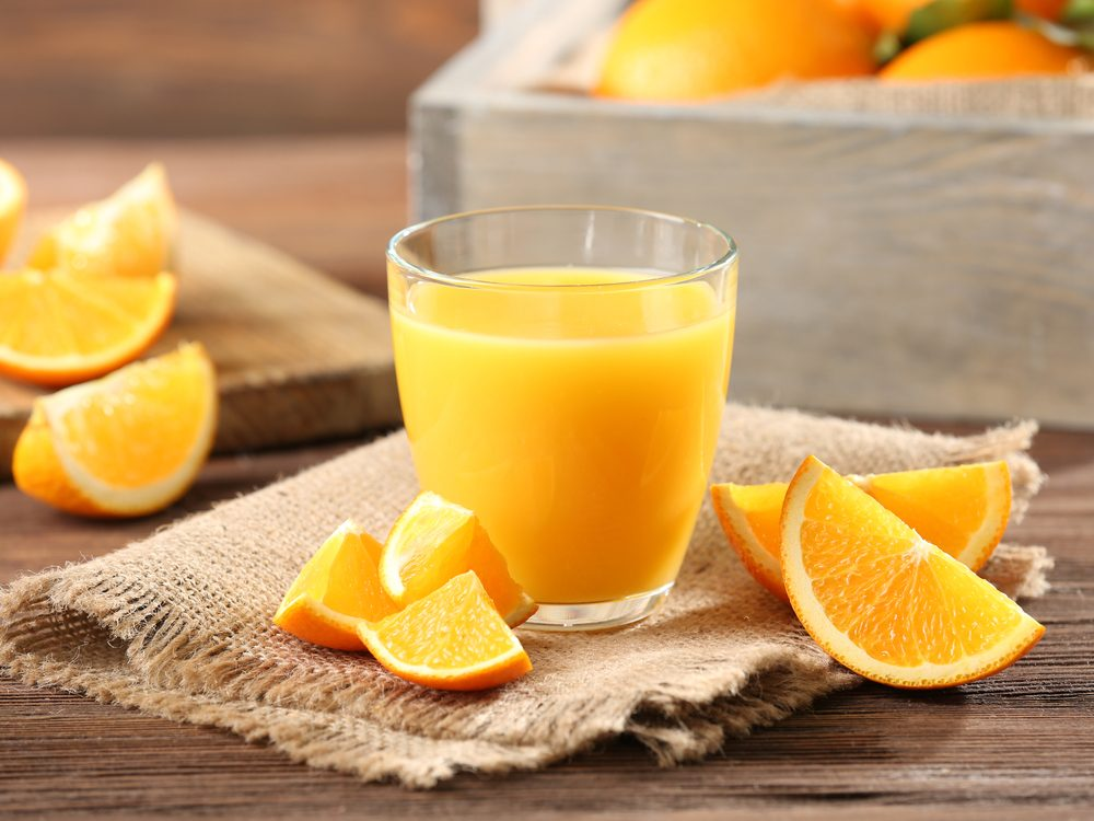 Orange slices and orange juice