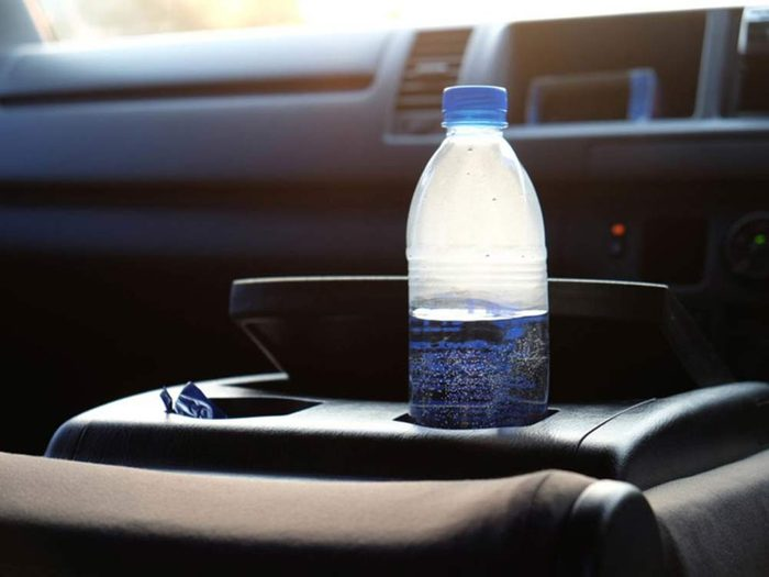 Never leave a water bottle in a hot car