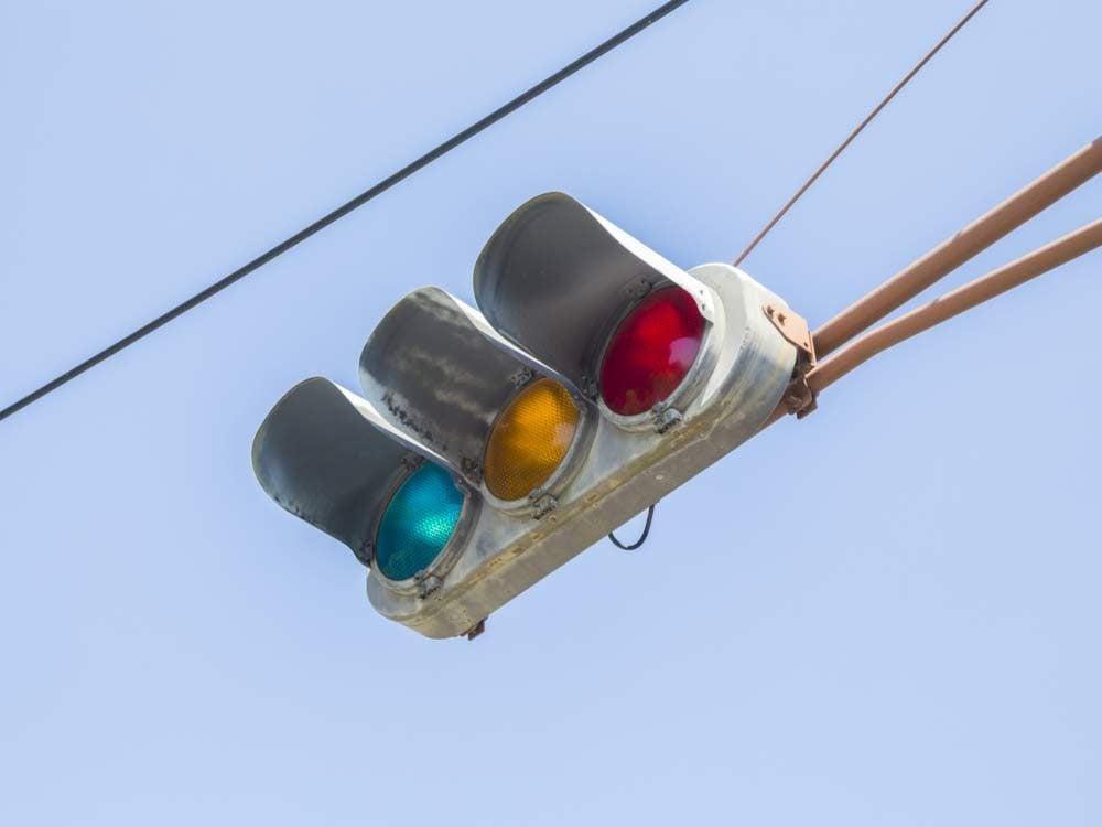 Blue traffic lights in Japan