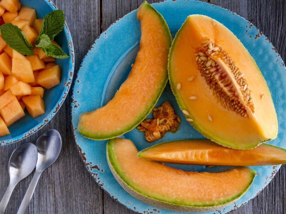 Cantaloue sliced and diced