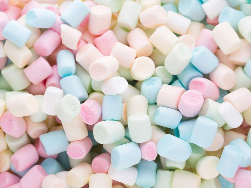 Multi-coloured marshmallows