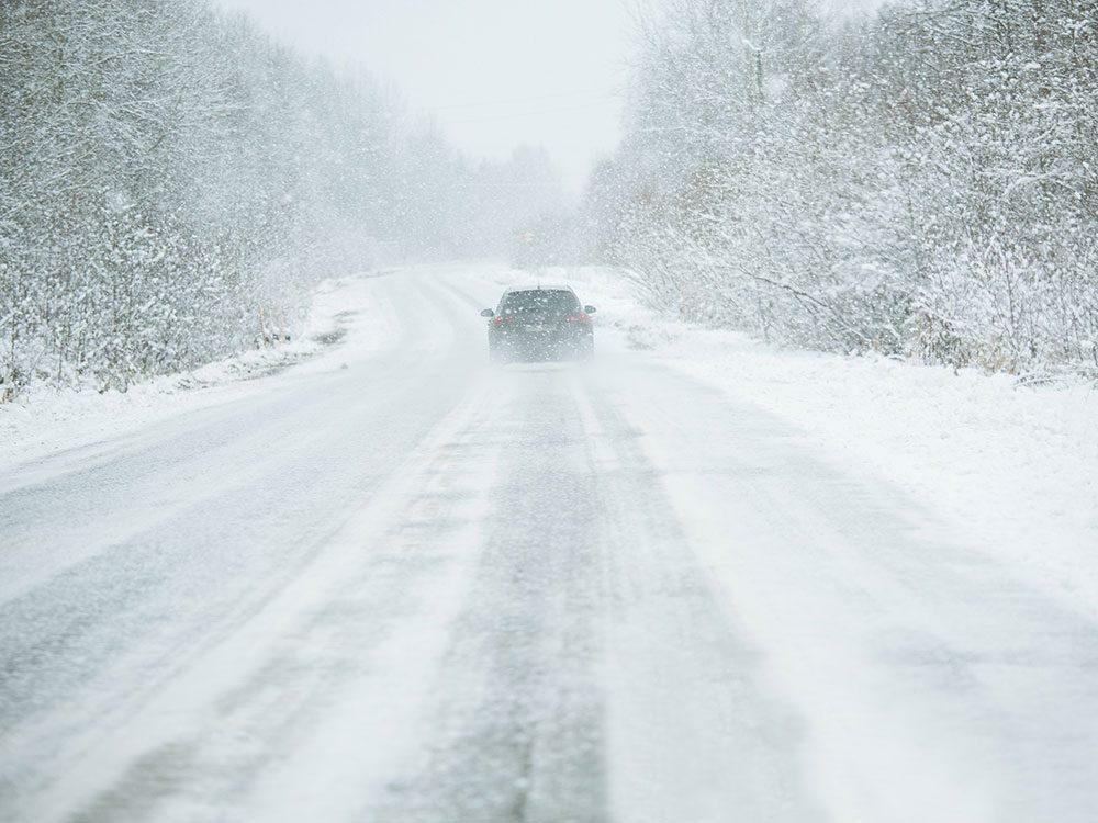 Driving through a Manitoba snowstorm