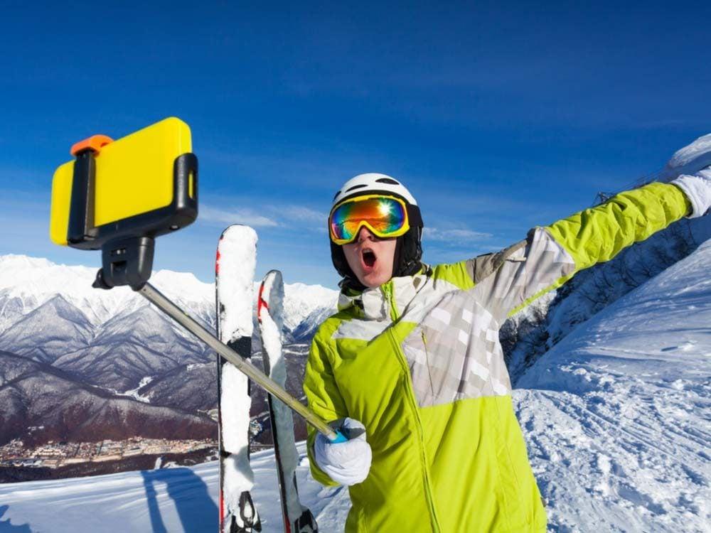 Selfie stick at ski resort