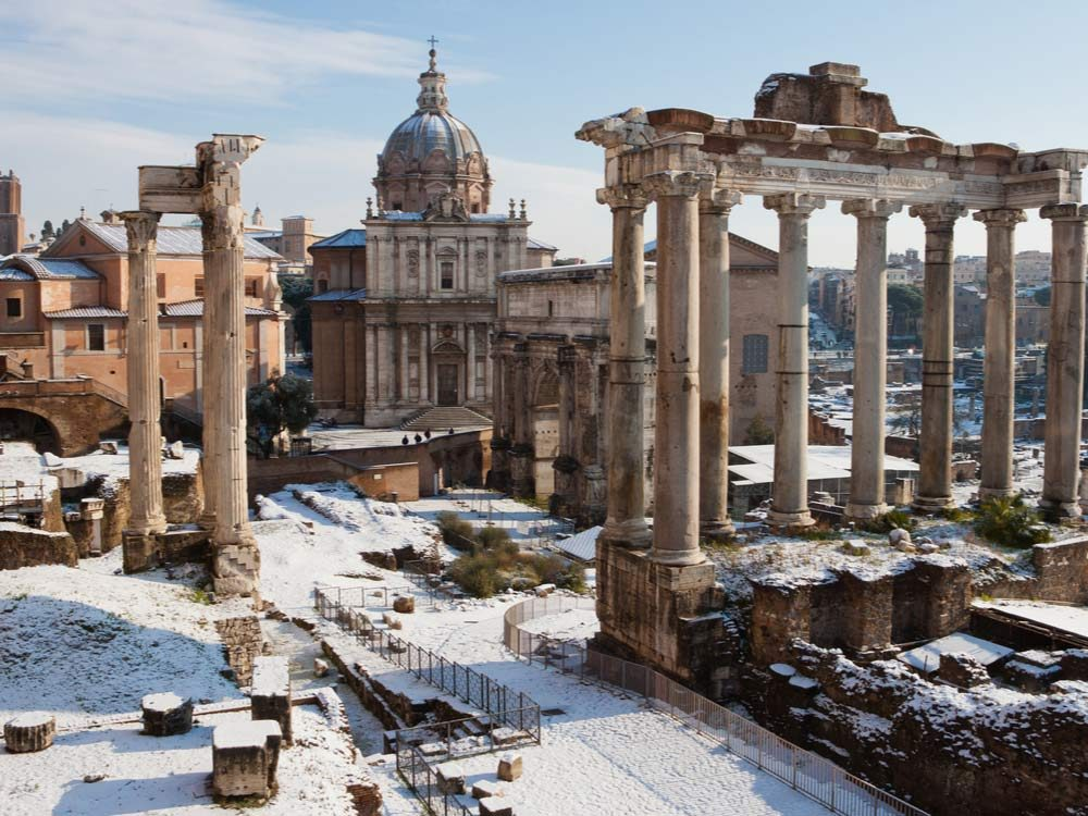 Snow in ancient Italian ruins