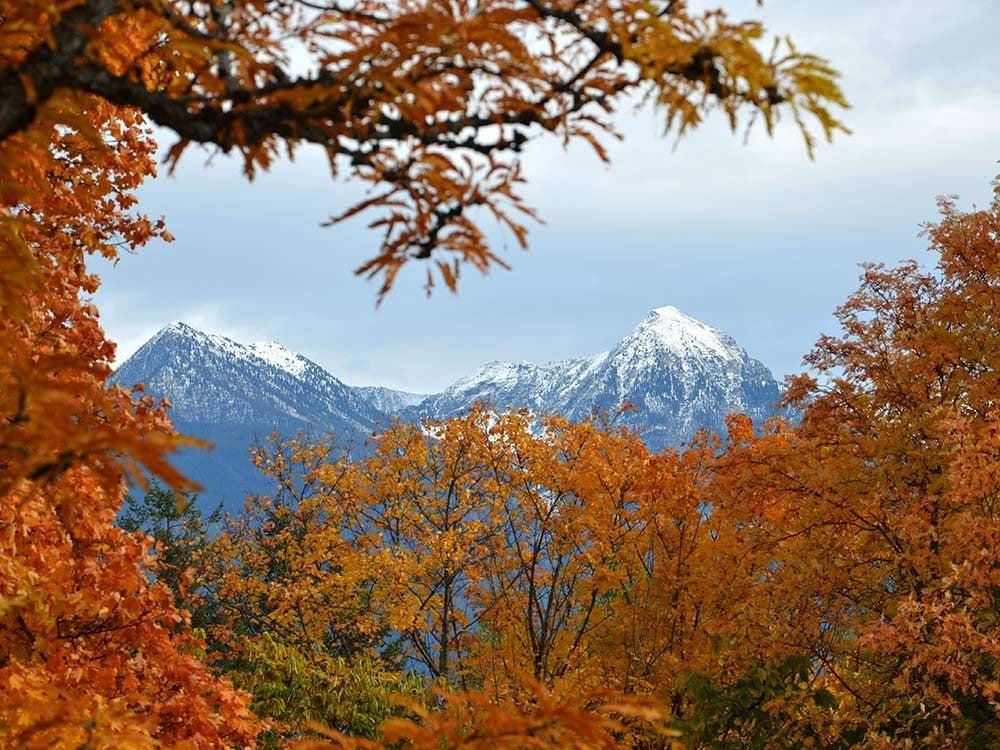 Snowy peaks in Kaslo, British Columbia