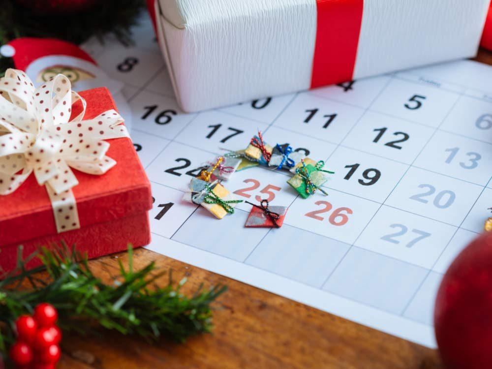 Calendar marking December 25