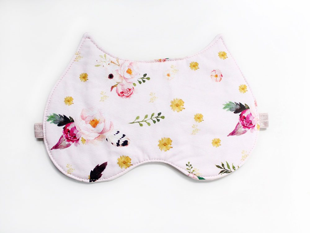 Floral Kitty sleep mask, Etsy