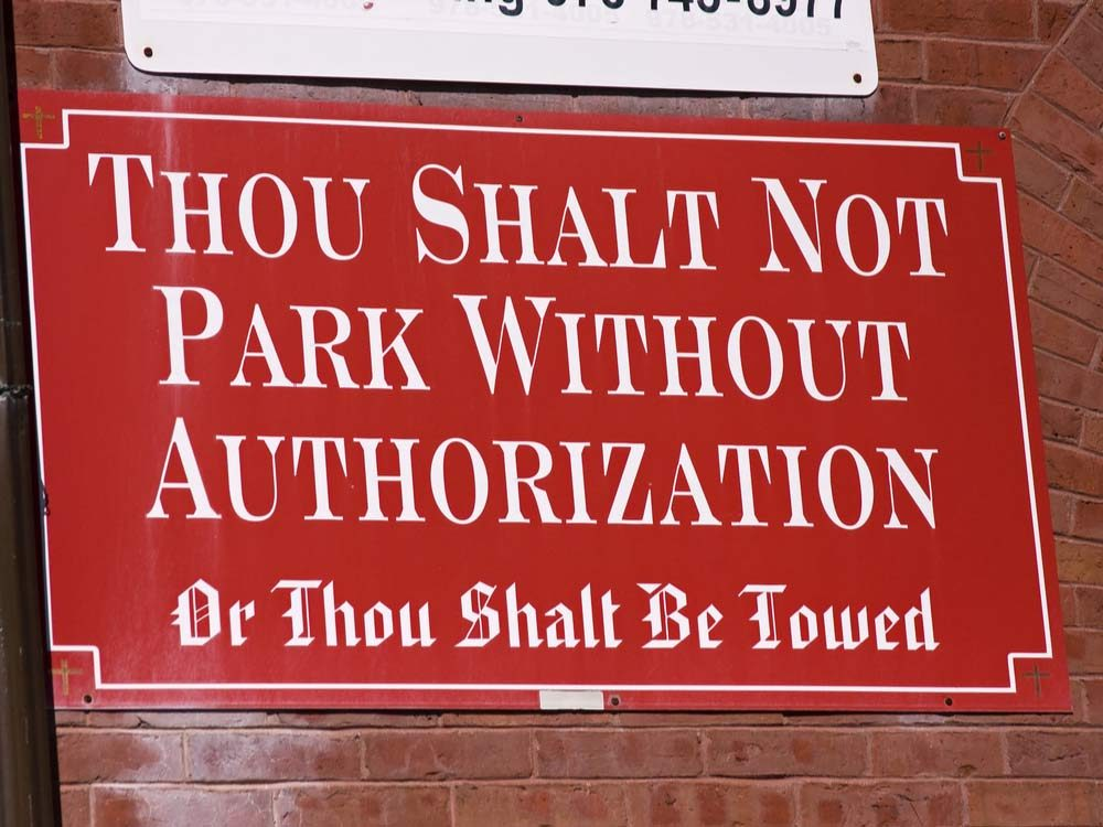 Church parking lot sign