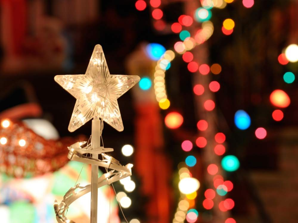 Christmas lights and star