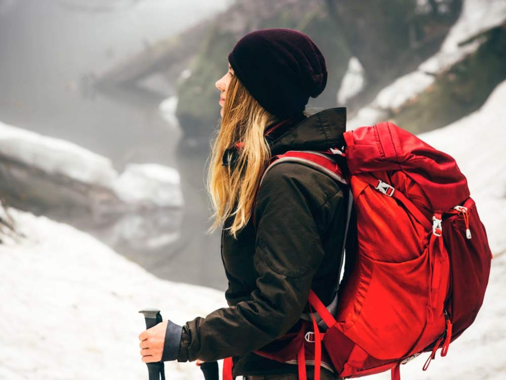 Woman hiking in the wilderness