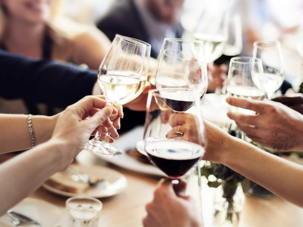 Friends drinking wine at restaurant