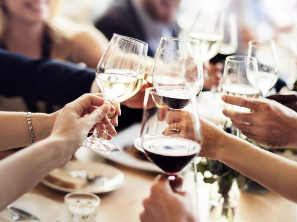 Friends drinking wine at restaurant