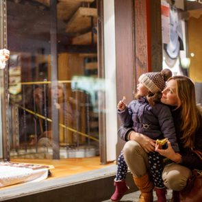 Things to do on Christmas day - Mother and daughter window shopping