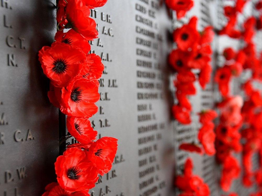 Poppies on a war memorial