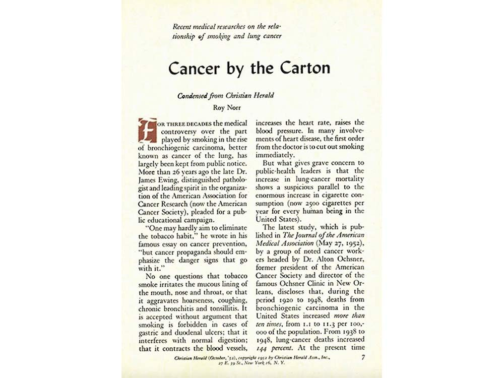 Cancer expose in Reader's Digest Canada
