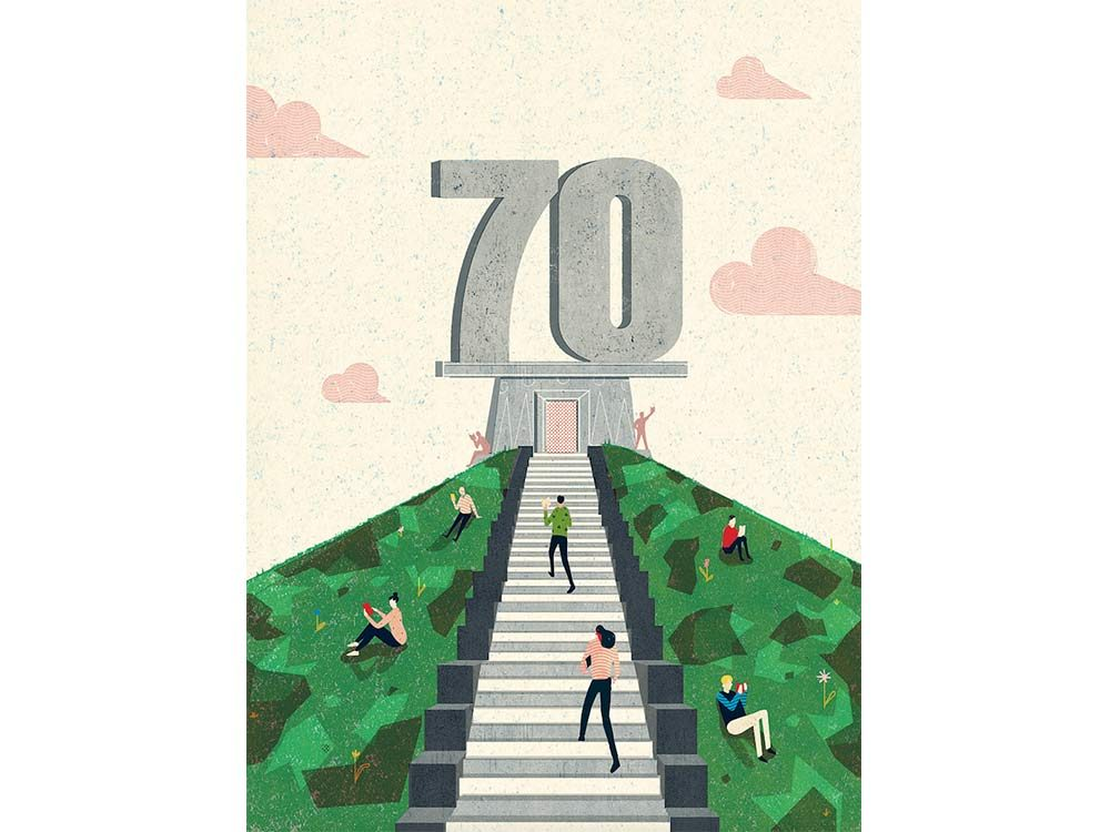 70th anniversary illustration