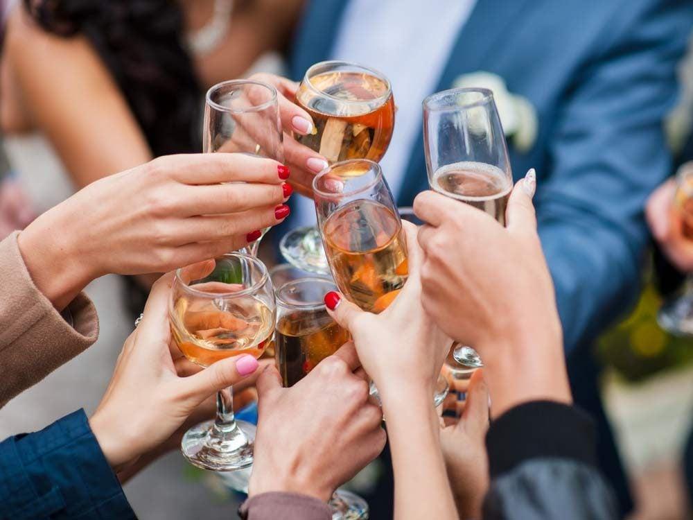 Drinking toast at wedding