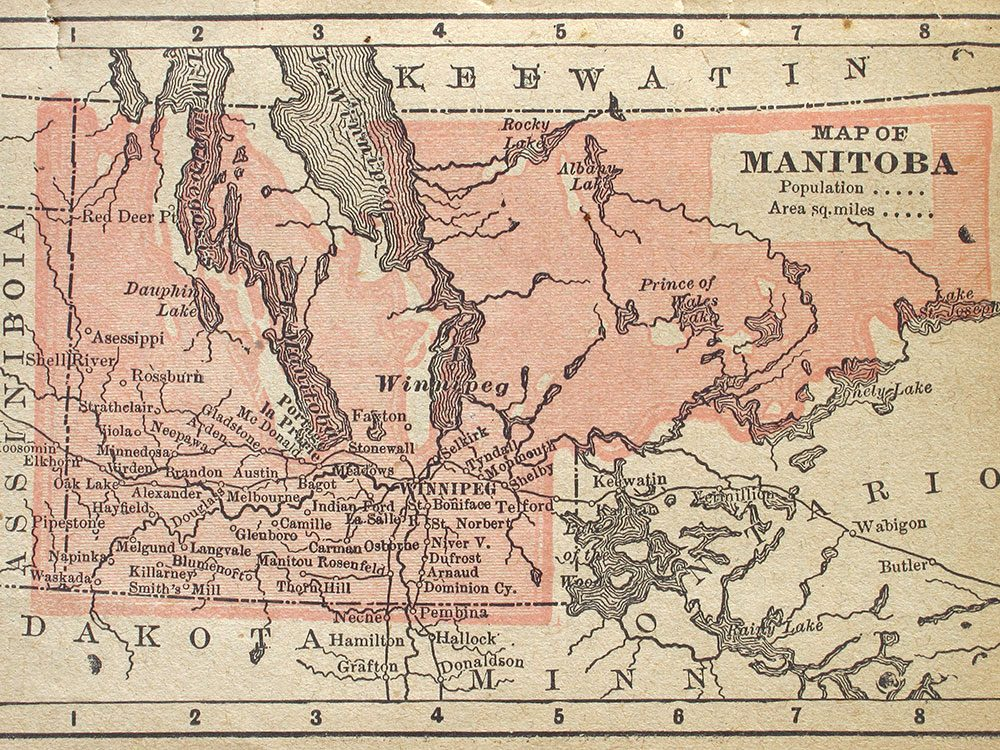 Old map of Manitoba